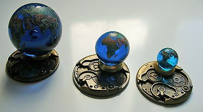 Orrery 3 Blue Glass Earth Marbles Set.Globes,Planets,Art,Astrology,Collectables.