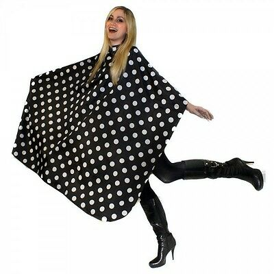 PRO HAIRDRESSING CUTTING BLACK POLKA DOT GOWN WITH POPPERS CAPE GOWN 145CMx128CM