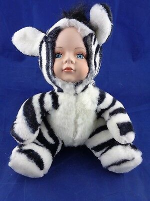 Show-Stoppers Babes The Wild Porcelain Face Plush Doll Animals ZEBRA