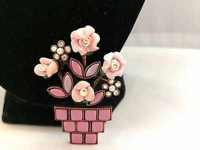Vtg. Greenwich Rare Pink Clay Ab Rhinestone Tile Potted Flowers Brooch~