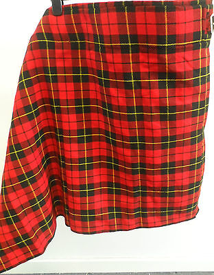 Scottish Kilt - Authentic Hand Made Woven Tartan Red Size 32 - 34 Box7247 D