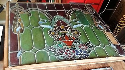 """Antique Stained Glass Window 37 1/4"""" x 47 1/4"""""""