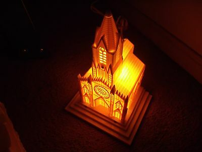 Vintage Raylite Cathedral Church with Light and Music Box