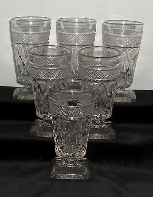 "6 Imperial CAPE COD CRYSTAL *5"" FOOTED JUICE TUMBLERS w/FANCY BALL STEM*1602"