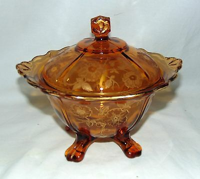 "Cambridge APPLE BLOSSOM AMBER GOLD ENCRUSTED *7 1/4"" 4 FOOTED CANDY w/LID*3400/9"