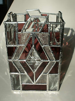 """Beautiful Purple Stained Glass Candle Holder 5 x 7.5"""" tall x 5"""" d Lots of Bevels"""