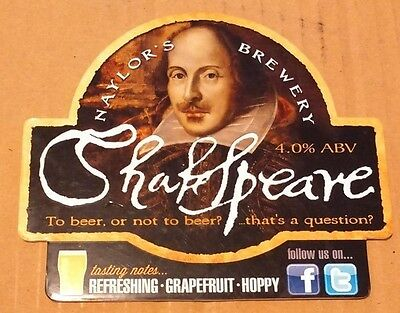 Beer pump badge clip NAYLOR'S brewery SHAKESPEARE real cask ale pumpclip front