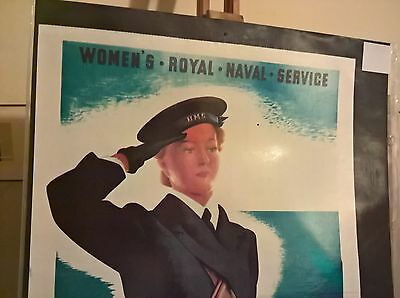 WW 11 Wrens Women's Royal Naval Service Poster  Superb Condition.in Sleeve