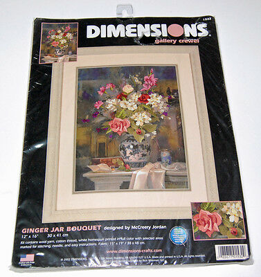 Ginger Jar Bouquet Gallery Crewel Kit Dimensions 12x16 2002