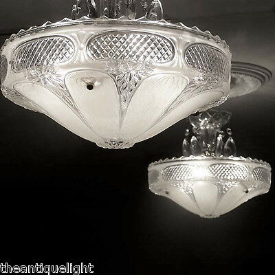 239 One Vintage 30s 40s Ceiling Light Lamp Fixture Chandelier Re-Wired white