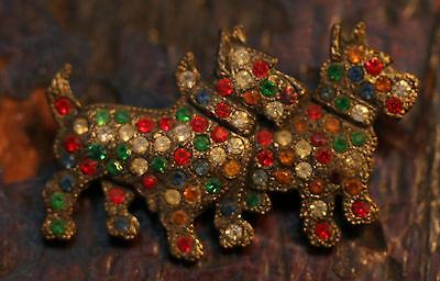 Vintage Early 1900's Rhinestone Encrusted Scotty Dogs  Pot Metal Pin Brooch