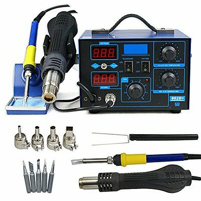 862D+ 2in1 SMD Soldering Iron Hot Air Rework Station Desoldering Repair 110V MAX
