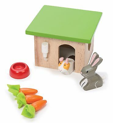 New Le Toy Van Bunny Rabbit & Guinea Pig with House Pet Accessory Set Wooden Toy