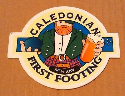 Beer pump badge clip CALEDONIAN brewery FIRST FOOTING cask ale pumpclip front