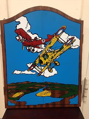 New in Box Vintage Wooden Red Baron Airplanes Dart Board Cabinet Set