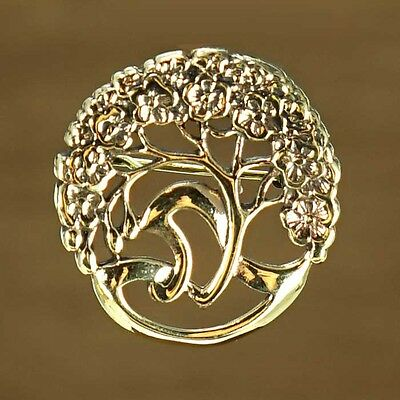 Beautiful Vintage Gold Art Nouveau Celtic Inspired Tree of Life Brooch Pin