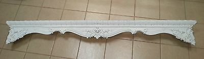 ANTIQUE French? American? ARCHITECTURAL 92x12 Gesso Wood Gilt White PEDIMENT