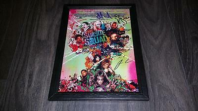 "Suicide Squad Cast X5 Pp Signed Framed A4 12X8"" Photo Poster Harley Quinn Joker"