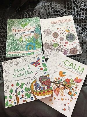 4 Brand New Adult Mindfulness Colouring In Books