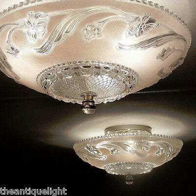 468 Vintage Ceiling Glass Light Lamp Fixture Chandelier solf pink 2 PAIR ?