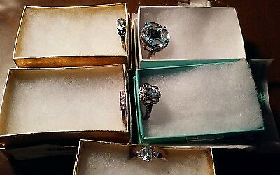 Lot Of 5 Blue Topaz 925 Sterling Silver Rings. #2