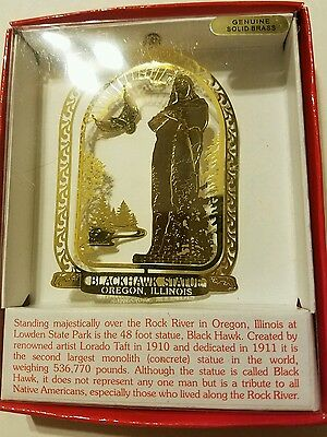Blackhawk Statue Oregon  Illinois Brass Christmas Ornament