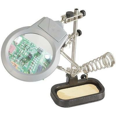 Glass Magnifier w/LED Light Soldering Iron Stand Bracket PCB Board Holder