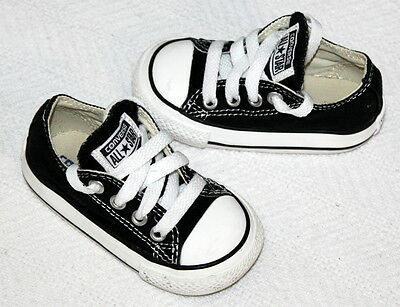 74864b201cc Converse All Star Black Canvas Toddler Infant Lace up Sneakers Size 4 Shoes  EUC