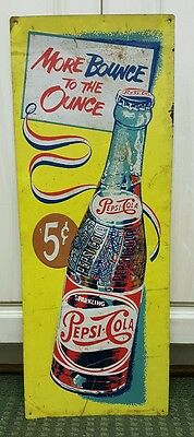 """Vintage 1950's tin Pepsi sign """"More bounce to the ounce"""""""