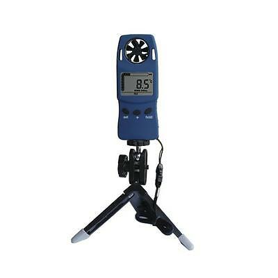 Handheld Anemometer w/Tripod Stand Wind Speed Meter Gauge Thermometer