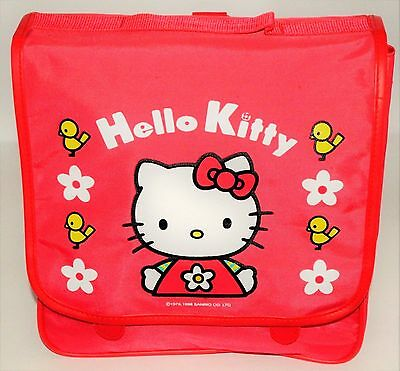 Hello Kitty Backpack Travel Bag Tote Red With Daisy Flowers & Birdies