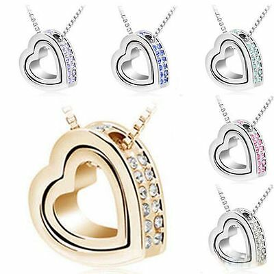 Fashion Women Pendant Jewelry Crystal Heart 925 Sterling Silver Necklace+Chain