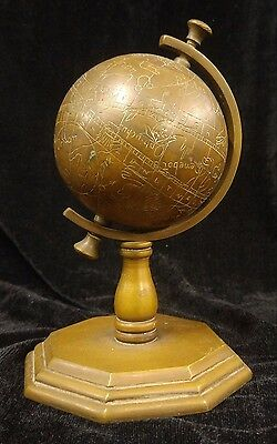 Old European Small Globe - Star Zodiac Sign Calligraphy