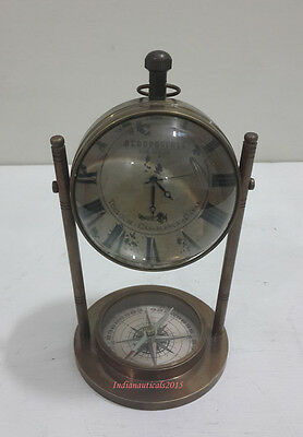 Vintage Nautical AEROPOSTALE  Toulouse Casablanca Dakar Clock  With Compass