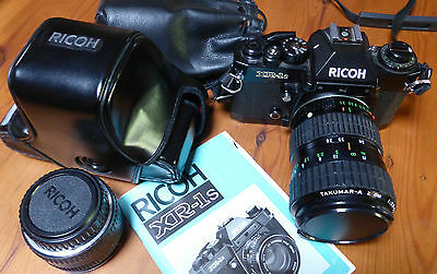Ricoh XR-1s 35mm SLR  film camera Takumar 28 - 80 zoom lens case 50mm lens strap