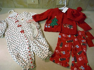 NEW Lot of 2 Infant Christmas Outfits Sweater Onesie Red & White Baby 3m months