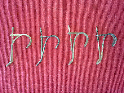 Antique LOT OF 4 TWISTED WIRE SCREW IN HOOKS COAT RACK HAT HANGERS SCHOOLHOUSE
