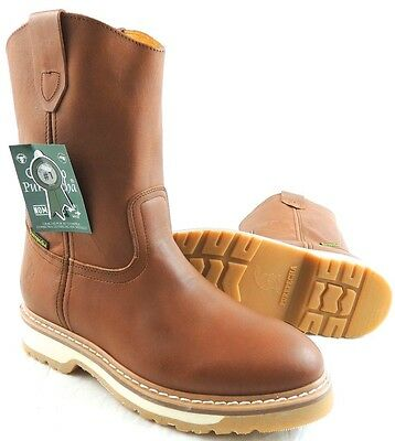 Men's Work Boots Genuine Leather Honey Color Western Cowboy Pull On Boots