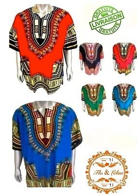 DASHIKI CAFTAN AFRICAIN Motif TRADITIONNEL - Manches COURTES - taille UNIQUE -