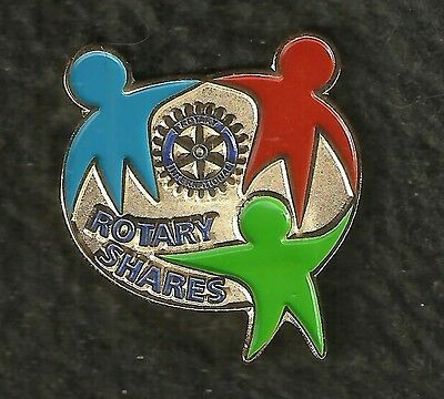 """VINTAGE 1/4"""" Dia """"ROTARY SHARES"""" Gold & Color Cloisonné Pin"""