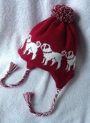 PUG CREAM dog NEW knitted lined RASPBERRY  ADULT TRAPPER EAR FLAP HAT
