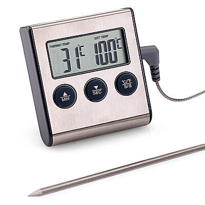 LCD BBQ Grill Thermometer Alarm Edelstahl Bratenthermometer Grillthermometer