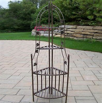 Oakland Living 60.25-in Antique Bronze Corner Wrought Iron Plant Stand Decor