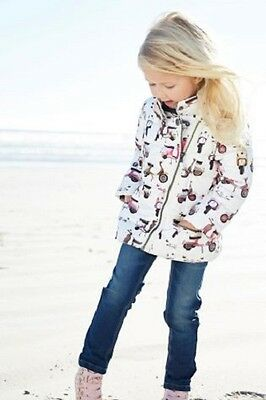 BNWT NEXT Baby/Girls  White Moped Print Coat Jacket 18-24 Months 4-5 Years