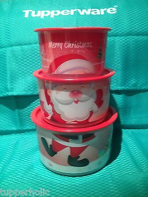 Tuppeware Santa Canisters - Set of 3 - BRAND NEW