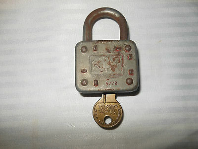 Vintage Padlock 77  Master Lock - Jungle King Lion - USA - Pat Pend - Key - 5774