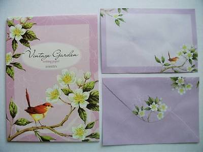 Writing Note Pad Paper And Envelopes New Stationery Set Vintage Garden 20 Sheets