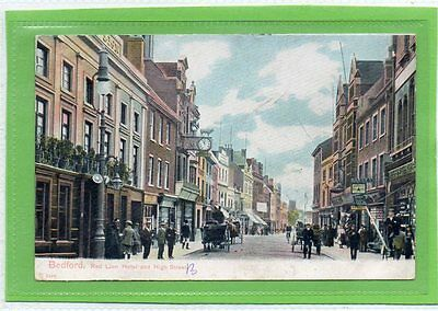 """""postcard Red Lion Hotel And High Street,bedford,dated 1906"""""