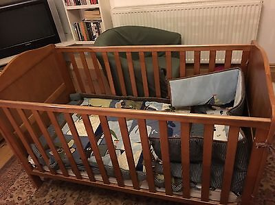 Mothercare Darlington Cot Bed Antique Including Mattress And Bedding