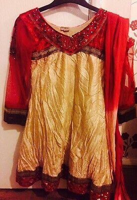 Girls Red And Gold Anarkali